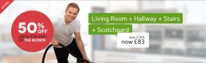 living room + hallway + stairs cleaning offer
